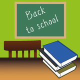 Back to school. Books on abstrac classroom background Stock Image