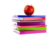 Back to school with books and apple Stock Images