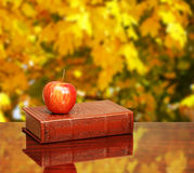 Back to school. Books and apple on the desk over autumn leaves Royalty Free Stock Photography