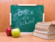 Back to school with books and apples Royalty Free Stock Image