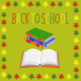 Back to school. books and an open book vector Royalty Free Stock Images