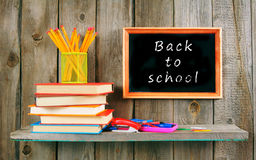Back to school. Books and school tools . Stock Photo
