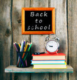 Back to school. Books and school tools. Stock Photo