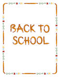 Back to school border. Pencil, apple, and text border to fit 8.5 x 11 paper with Back to School lettering made from pencils Stock Photography