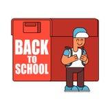 Back to school.  Boy and big  schoolbag. Illustration for Septem Royalty Free Stock Photo