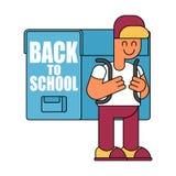 Back to school.  Boy and big  schoolbag. Illustration for Septem Royalty Free Stock Images