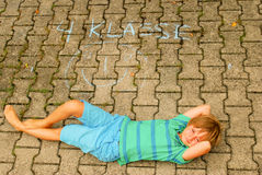 Back to school. A boy in Germany looks forward to beginning of classes in 4th grade Royalty Free Stock Photo