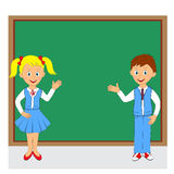 Back to school.boy and girl on the background of the school Royalty Free Stock Image