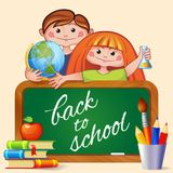 Back to school. Boy and girl with blackboard, globe, chemical flask, stack of books, pencils and brush in the holder Stock Photos