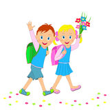 Back to school.boy and girl going to school. Royalty Free Stock Images