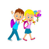 Back to school.boy and girl going to school Royalty Free Stock Image