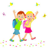 Back to school.boy and girl going to school, smiling and waving Stock Image
