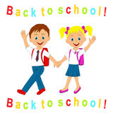Back to school. boy and girl going to school Stock Image