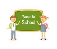 Back to school. Boy and girl standing near school board royalty free illustration