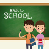 Back to school boy and girl student and board Royalty Free Stock Photo