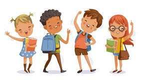 Children school. Back to school. boy and girl,With the thumb up to the hand that symbolic hand.Kids and friends at school on the first day of school.Children Royalty Free Stock Photo