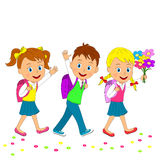 Back to school.boy and girls going to school. Illustration, vector Stock Photo