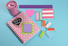 Back to School bright pink, polka dot and colorful stationery Royalty Free Stock Image