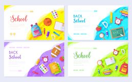 Back to school brochure card set. Student template of flyear, web banner, ui header, enter site. College education royalty free illustration