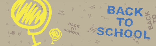 Back to school. Brown web banner on the topic of education with patterns in the background. Flat illustration EPS 10.  vector illustration
