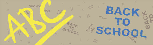 Back to school. Brown web banner on the topic of education with patterns in the background. Flat  illustration EPS 10 Royalty Free Stock Photography
