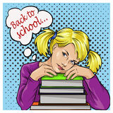 Back to school bubble pop art sad schoolgirl with books. Stock Image
