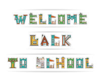 Back to school building font Royalty Free Stock Photos