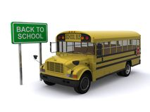 Back to school bus. Realistic 3d illustration of traditional yellow school bus with back to school sign; isolated on white background royalty free illustration