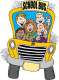 Back to School Bus. Cartoon image of a school bus taking a group of kids back to school Stock Photo