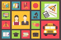 Back to school, bus and equipment vector icons set Royalty Free Stock Images