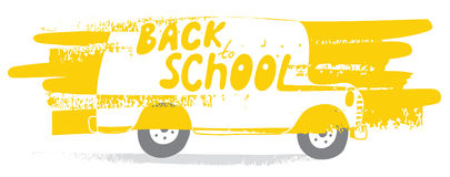 Back to School bus. School bus in vector. Back to School! Naive, a child's drawing of the bus. Suitable for postcards, posters and other printing. EPS 8 Stock Photos