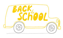 Back to School bus. School bus in vector. Back to School! Naive, a child's drawing of the bus. Suitable for postcards, posters and other printing. EPS 8 Stock Photo