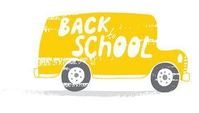 Back to School bus. School bus in vector. Back to School! Naive, a child's drawing of the bus. Suitable for postcards, posters and other printing. EPS 8 Royalty Free Stock Images