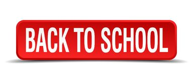 Back to school button. Back to school square 3d realistic isolated web button. back to school Stock Photos