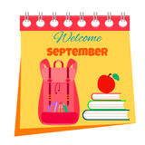Back to school calendar bright background with text, school backpack and books Stock Images