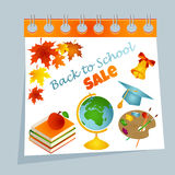 Back to school calendar sale background with autumn leaves, palette, books, apple, bell, graduate cap and text Royalty Free Stock Photos