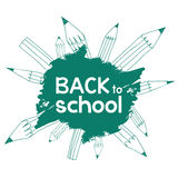 Back to School. Calligraphic Designs with pencils. EPS 8 Stock Photo