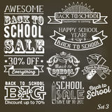 Back to School calligraphic label set on chalkboard. School sale sign retro style. Back to School label set on chalkboard. School sale sign retro style Royalty Free Stock Photo
