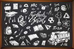 Back to school, hand drawn vector icons stock illustration