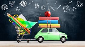 Back to school car animation. Back to school. Car delivering books and apple against school blackboard with education symbols. Seamlessly looped 4k animation stock photos
