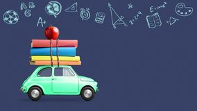 Back to school car animation. Back to school looped 4k animation. Car delivering books and apple against school blackboard with education symbols royalty free stock photo
