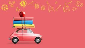 Back to school car animation. Back to school looped 4k animation. Car delivering books and apple against school blackboard with education symbols royalty free stock photography