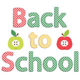 Back to School card as retro gingham fabric letters as applique Royalty Free Stock Images
