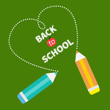 Back to school card card. Two pencils and dash Royalty Free Stock Images