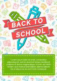 Back to school card with color label consisting of icon pen, pen Stock Images