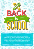 Back to school card with color label consisting of icon pen and Royalty Free Stock Photography