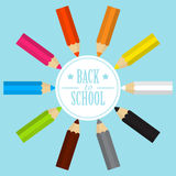 Back to school card with colored pencils in flat design Royalty Free Stock Photos