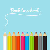 Back to school card with colored pencils in flat design Stock Photos