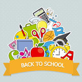 Back to School Card. Education icons Stock Image