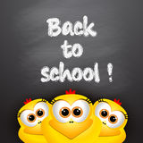 Back to school. Card with funny chickens. Stock Images